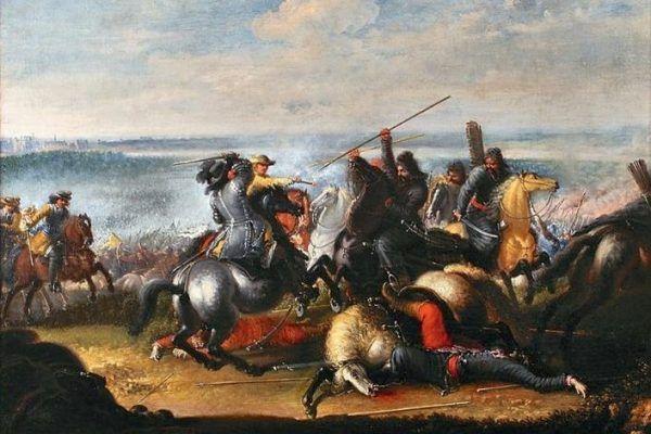 Jak potoczyłaby się historia, gdyby Karol X Gustaw zmarł na przedpolach Warszawy rok po agresji na Polskę? Obraz Johana Filipa Lemke przedstawiający króla Szwecji w starciu z Tatarami pod Warszawą (źródło: domena publiczna).