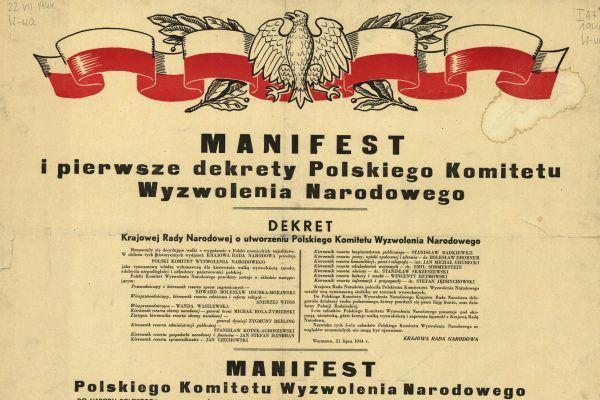 Przez cały okres PRL-u dzień ogłoszenia Manifestu PKWN był świętem państwowym (źródło: Ministerstwo Bezpieczeństwa Publicznego, domena publiczna).