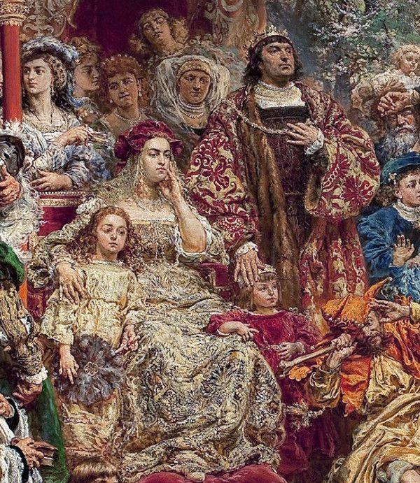 """Znudzona Bona z dziećmi i mężem. Ile prawdy było w opowieściach o jej rozwiązłości? Fragment obrazu Jana Matejki """"Zawieszenie Dzwonu Zygmunta""""."""