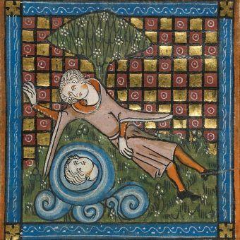 """Narcyz. Miniatura z """"Roman de la Rose"""", Francja ca. 1340 (źródło: domena publiczna)."""