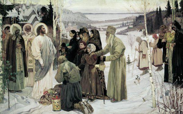 """Święty lud ruski to prawdziwy mesjasz narodów! U nas prawdziwa wolność, równość i braterstwo... Obraz """"Święta Ruś"""" Mychaiła Nesterowa (źródło: domena publiczna)."""