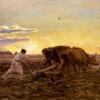 """Czy naprawdę pańszczyźniani chłopi byli niewolnikami? Na ilustracji obraz Józefa Chełmońskiego """"Orka"""" (źródło: domena publiczna)."""