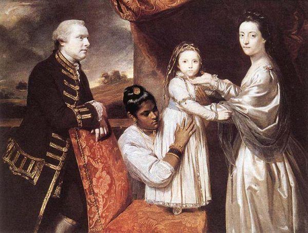 Idealny obrazek według brytyjskich kolonizatorów: biała rodzina i ciemnoskóra służąca. Na obrazie George Clive z żoną, córką i indyjską pokojówką (autor obrazu: Joshua Reynolds, źródło: domena publiczna).