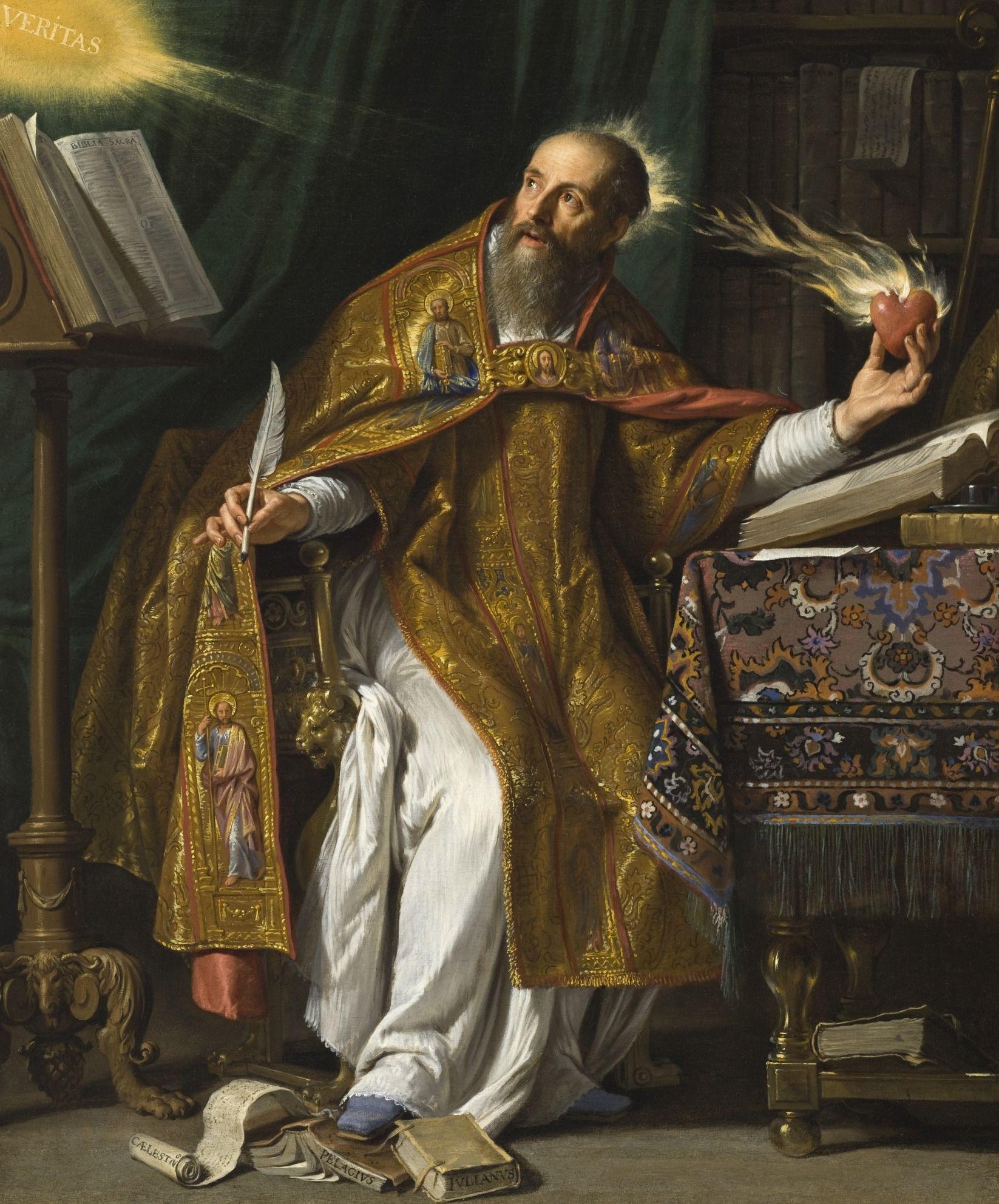 Problem zmartwychwstania ciał pożartych przez robactwo głęboko nurtował świętego Augustyna. Ojciec i doktor Kościoła na obrazie Philippe'a de Champaigne z ok. 1650 roku (źródło: domena publiczna).