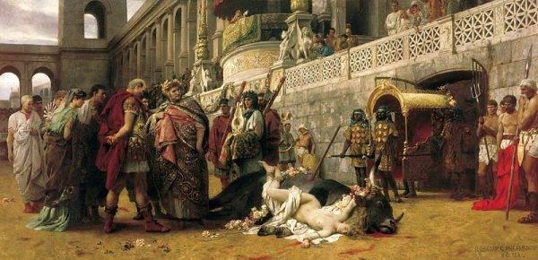"""Los chrześcijan w czasie prześladowań został Rzymianom szczególnie zapamiętany. Okrucieństwo starożytnych zapładniało wyobraźnię artystów XIX wieku. Henryk Siemiradzki, """"Dirce chrześcijańska"""" (źródło: domena publiczna)."""