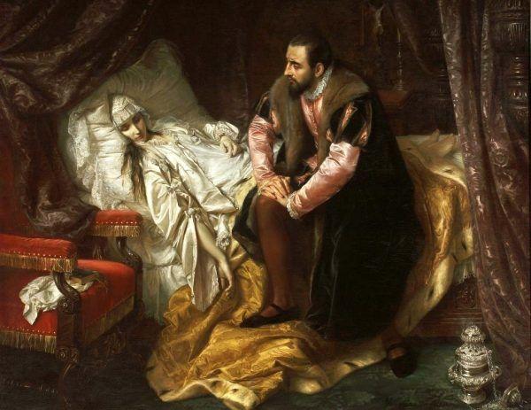 """Zygmunt August szczerze wierzył, że za śmiercią jego ukochanej Barbary stała, nasłana przez Bonę, wiedźma nazywana """"Wielkim Ożogiem"""". Na ilustracji ostatnie chwile Barbary pędzla Jana Matejki (źródło: domena publiczna)."""