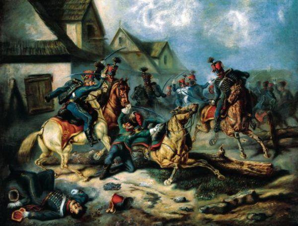 Śmierć Berka Joselewicza na obrazie Henryka Pillatiego (źródło: domena publiczna).