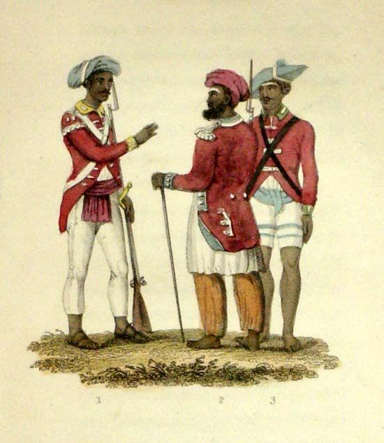 Przez własną ignorancję i upór Brytyjczycy ściągnęli na siebie straszne niebezpieczeństwo. Sipaje na rysunku Frederica Shoberla z lat 20. XIX wieku (źródło: domena publiczna).