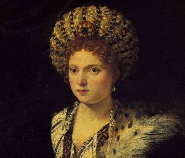 Według poematu jednego z dworzan suczka Izabelli d'Este, psotna Aura, trafiła do nieba. Fragment obrazu Tycjana z ok. 1535 roku (źródło: domena publiczna).