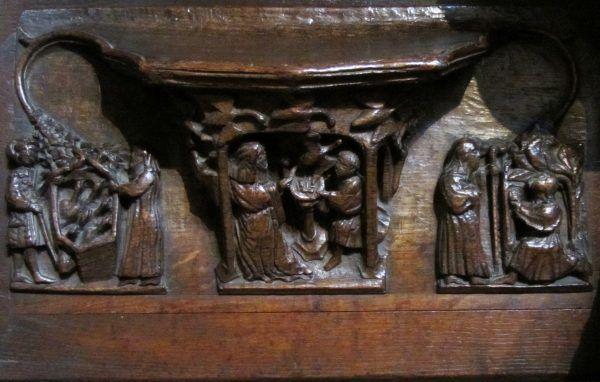 Cuda świętej Werburgi, łącznie ze wskrzeszeniem gęsi, zilustrowane w katedrze w Chester (fot. Stephen Hamilton, lic. CC BY-SA 3.0).