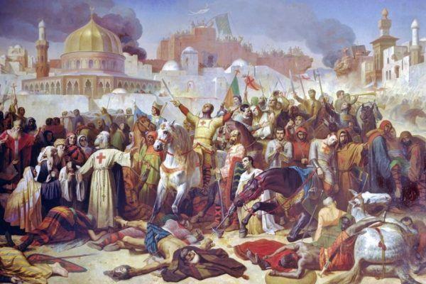 Tak zdobycie Jerozolimy w 1099 roku przez krzyżowców wyobrażał sobie w 1847 roku Émile Signol (źródło: domena publiczna).