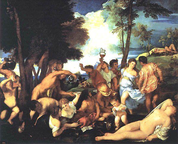 Ślub Bony i Zygmunta, przynajmniej w sferze werbalnej, przerodził się w prawdziwe bachanalia! Na ilustracji obraz pędzla Tycjana.