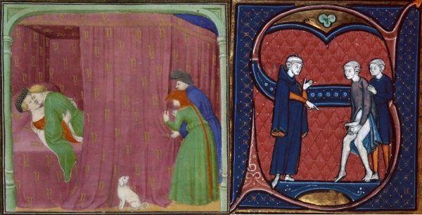 """Podglądactwo i publiczne obnażanie. I te przypadłości znane były dobrze przed tysiącleciem. Po lewej ilustracja z francuskiego manuskryptu """"De proprietatibus rerum"""" z 1410 roku, po prawej XIII-wieczny """"Canon medicinae"""" Awicenny (źródło: domena publiczna)."""