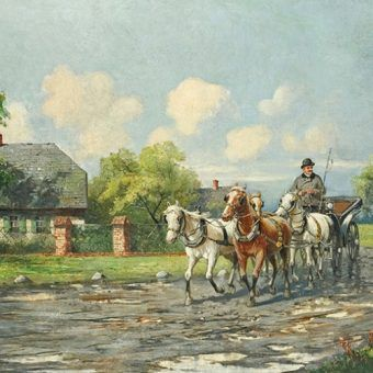 """Władysław Bończa Rutkowski (1841 1905) """"Na wsi""""."""