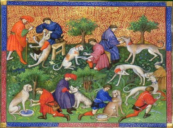 """Czy wśród tej zgrai mógł się trafić kolejny kandydat na świętego, który własnym ciałem obroniłby dziecko? Ilustracja z """"Livre de chasse"""" autorstwa hrabiego Gastona Febusa z końcówki XIV wieku (źródło: domena publiczna)."""