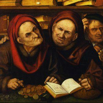 """Fragment obrazu """"Lichwiarze"""" pędzla niderlandzkiego malarza Quentina Massysa (źródło: domena publiczna)."""