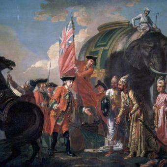 Indie były perłą w koronie brytyjskiego imperium. Obraz Francisa Haymana, przedstawiający zwycięstwo Roberta Clive'a w bitwie pod Plassey (źródło: domena publiczna).