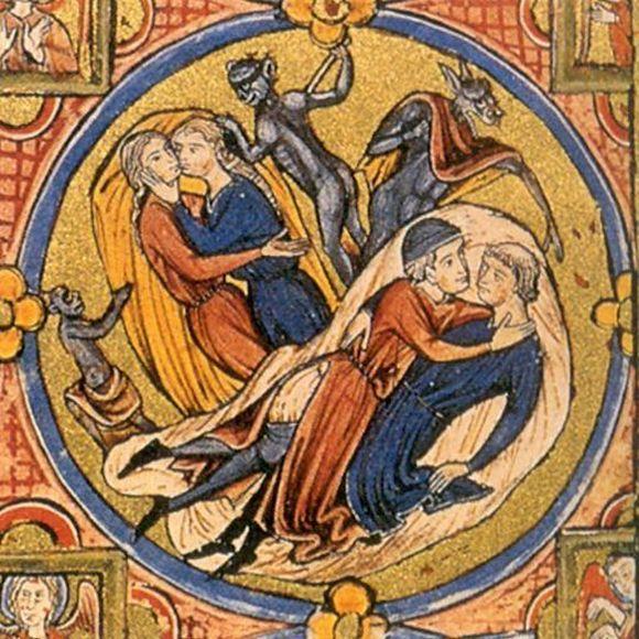 Czy te panie aby za mocno się nie zagalopowały? Ilustracja moralizatorska z kodeksu Vindbonesis z początków XIII wieku (źródło: domena publiczna).