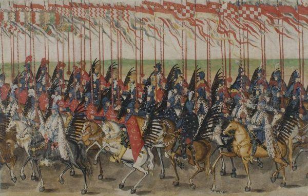 Myli się ten kto sądzi, że po upadku z konia husarz stawał się bezużyteczny na placu boju. Na ilustracji fragment tak zwanej rolki sztokholmskiej autorstwa Balthasara Gebhardta (lic. domena publiczna).