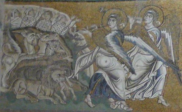 Fragment mozaiki przedstawiającej Sąd Ostateczny w katedrze w Torcello, gdzie widać wymiotujące fragmentami ludzkich ciał zwierzęta (źródło: domena publiczna).
