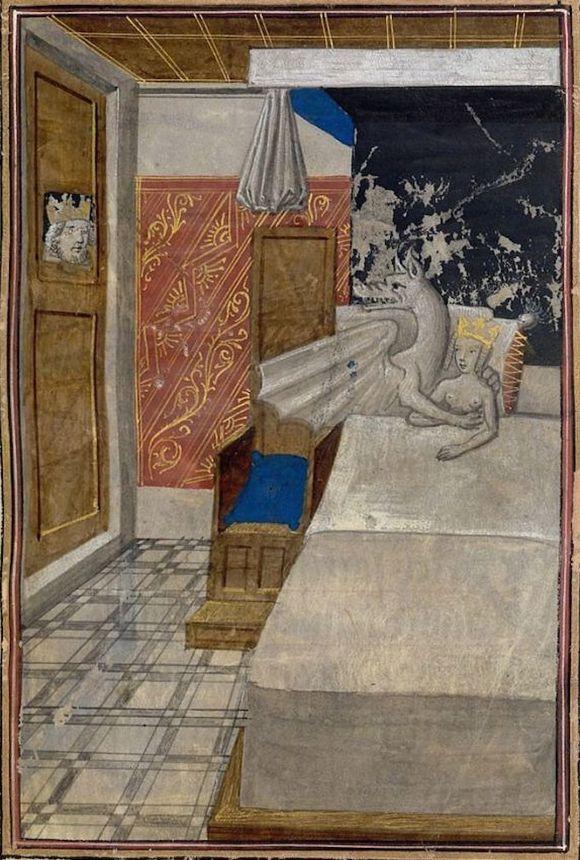 """Co się gapisz? Wolę w łóżku smoka od ciebie! Brugijskie """"Historiae Aleksandri Magni"""" z około 1468-1475 roku (źródło: domena publiczna)."""