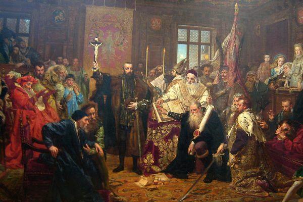 Tak akt zaprzysiężenia unii lubelskiej wyobrażał sobie w jego trzysetną rocznicę Jan Matejko (źródło: domena publiczna).