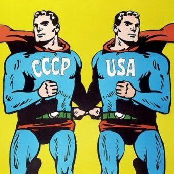 Plakat z roku 1968 przedstawiający ZSRR i USA jako Supermenów autorstwa czołowego polskiego grafika Romana Cieślewicza.