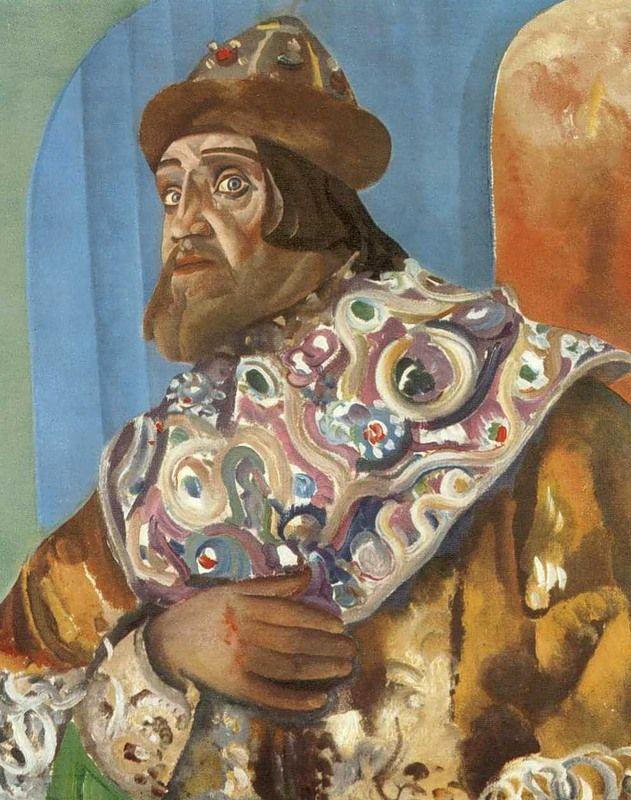 Car Fiodor I dyskretnie sprowadził heretyckich, zagranicznych lekarzy, by żona urodziła dziecko. Medycy tak pomogli, że zmarł bezpotomnie. Obraz Boris Grigoriewa z 1923 roku (źródło: domena publiczna).