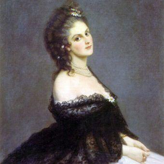 Portret hrabini Castiglione z 1862 roku pędzla Michele'a Gordigianiego (źródło: domena publiczna).