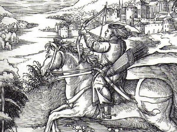 A łucznictwo wydawało się takim bezpiecznym hobby… Drzeworyt Albrechta Dürera przedstawiający polującego księcia Maksymiliana Habsburga (źródło: domena publiczna).