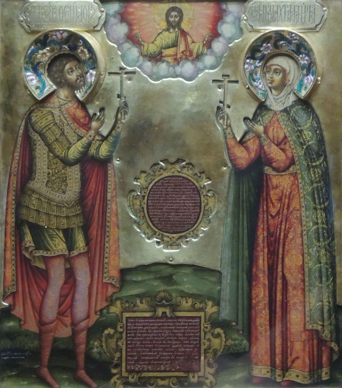 Fiodor i Agata przedstawieni wspólnie na ikonie z 1681 roku (fot. Shakko, lic. CC BY-SA 3.0).