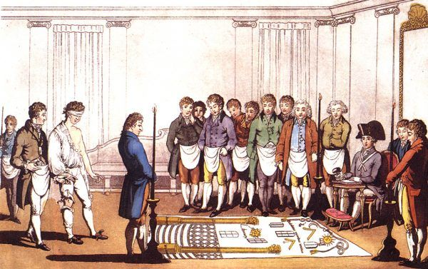 Juliusz Verne opisywał masońskie rytuały, które przysięgano zachować w tajemnicy. XVIII-wieczna rycina, przedstawiająca wolnomularską inicjację (domena publiczna).