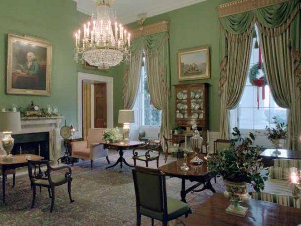 Chcielibyście mieszkać w takim pokoju? Cóż, pewnie nie nacieszylibyście się nim długo... Zielony Pokój w Białym Domu (źródło: domena publiczna).