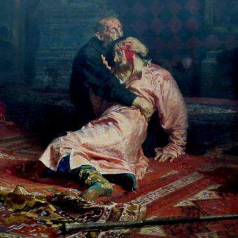 """Szaleństwo w oczach i pytanie """"Cóżem ja uczynił?"""". Obraz Ilji Riepnina z 1885 roku pod tytułem """"Car Iwan Groźny i jego syn Iwan 16 listopada 1581 roku"""" (źródło: domena publiczna)."""