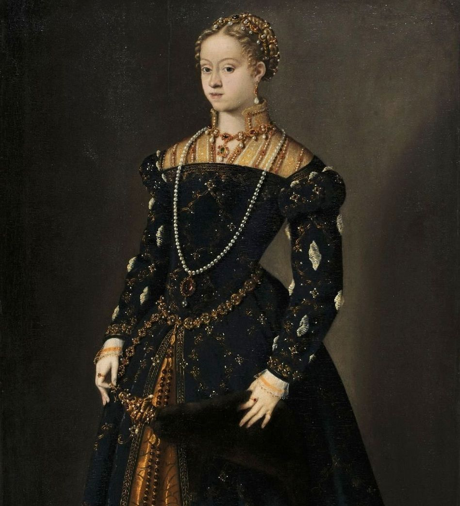 Czy to Katarzyna manipulowała Zygmuntem Augustem... czy też on stawiał wobec niej żądania, jakich nie mogła spełnić z jego przyczyny? Młoda Habsburżanka na obrazie Tycjana z ok. 1548 roku (źródło: domena publiczna).