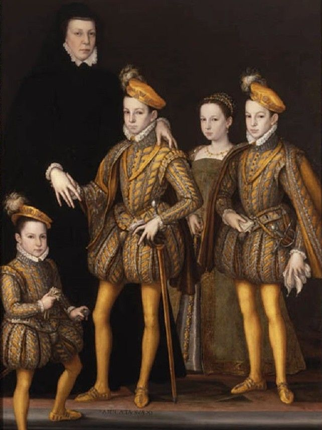 Fachowa terapia okazała się nad wyraz skuteczna. Katarzyna, która przez 10 lat nie mogła zajść w ciążę, przez kolejne 12 lat urodziła... dziesięcioro dzieci! Czwórkę z nich - Franciszka Herkulesa, Karola IX, Małgorzatę (znaną jako Królowa Margot) i Henryka, przyszłego króla Polski - widzimy z matką na tym obrazie (źródło: domena publiczna).