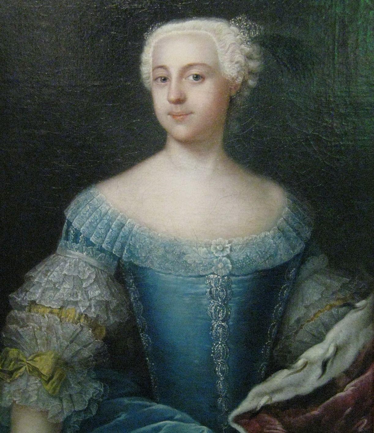 Wielka kariera Katarzyny II omal nie skończyła się jeszcze zanim na dobre zaczęła. Nieudolne leczenie ospy omal nie zabiło jej tak, jak brata jej matki kilkanaście lat wcześniej. Obraz Anny Rosiny Lisiewskiej z 1742 roku (źródło: domena publiczna).