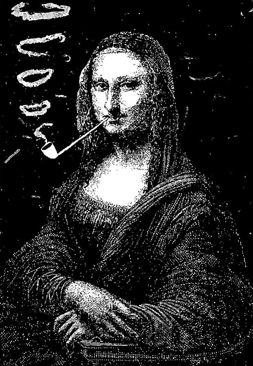 """Mona Lisa była wdzięcznym tematem do przeróbek... Przykładowo w 1887 roku na ilustracji Eugène Bataillee w """"Le Rire"""" spokojnie kurzyła fajeczkę... (źródło: domena publiczna)."""