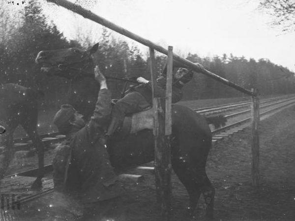 Los konia w wojsku do łatwych nie należał... ale dzielny wierzchowiec mógł liczyć na zaszczyty i dozgonną wdzięczność. Na zdjęciu przygotowywanie koni Legionistów do załadunku na eszelon (źródło: domena publiczna).