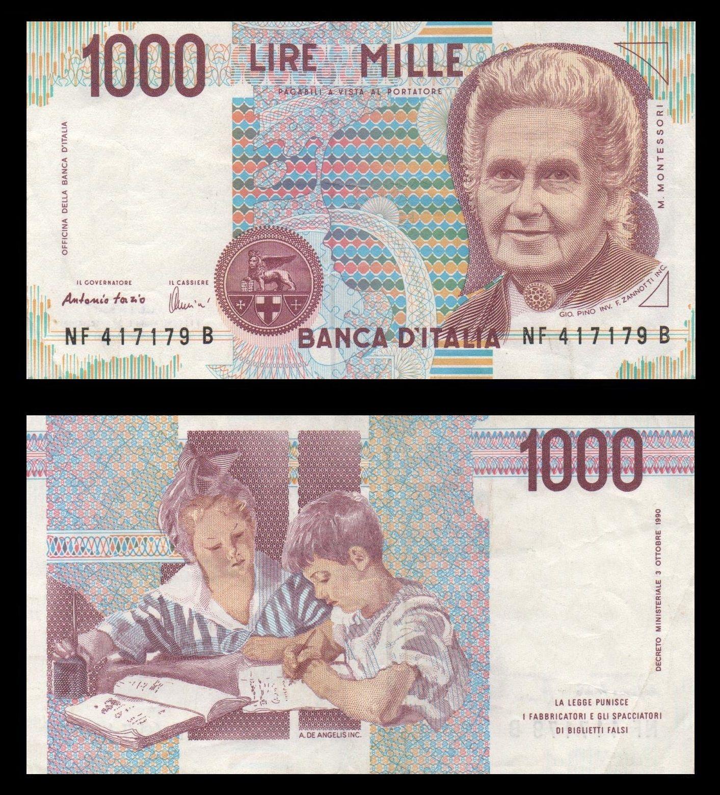 Maria Montessori - w uznaniu za swe zasługi - trafiła nawet do włoskich portfeli (skan: F l a n k e r, lic. CC BY-SA 3.0).
