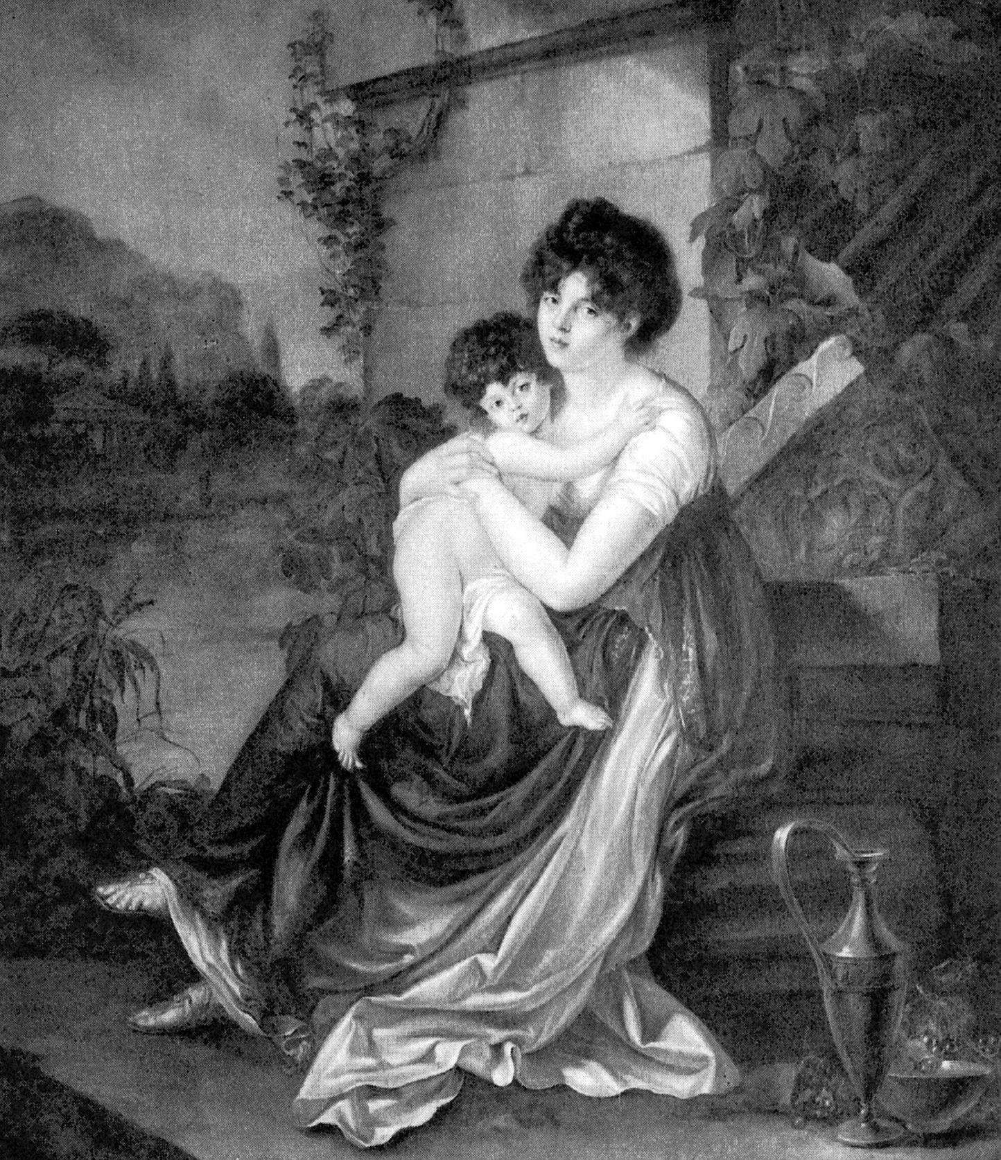 Maria z Czetwertyńskich Naryszkina wraz z jednym ze swych dzieci na ilustracji wykonanej na podstawie obrazu Petera Edwarda Stroehlinga (źródło: domena publiczna).