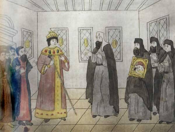 Patriarcha Filaret błogosławi swojego syna – cara Michała Romanowa. Ojciec i syn wspólnie sprawowali władzę w Rosji. Iluminacja książkowa, XVII wieku