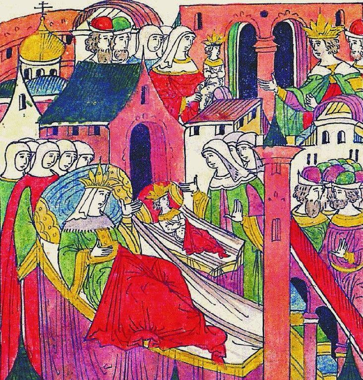 Tak wesoło i kolorowo przedstawiano narodziny Iwana, syna Iwana Groźnego. Carewicz nie miał okazji tak się cieszyć z narodzin własnego syna... Miniatura z XVI-wiecznego latopisu (źródło: domena publiczna).