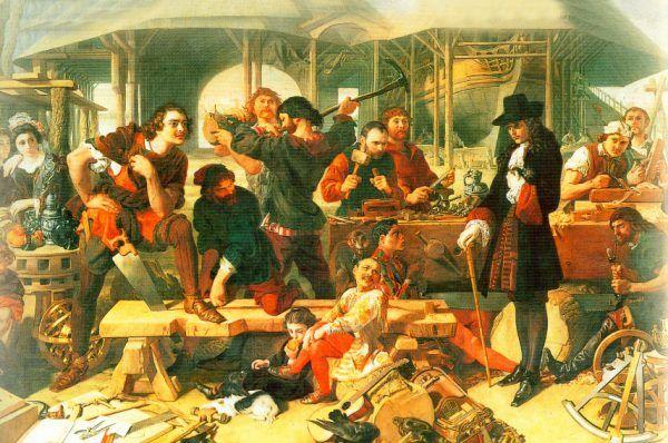 Z wielkiej wyprawy młodego cara na zachód najbardziej pamięta się jego zachwyt nad flotami europejskimi. Tymczasem Piotr przywiózł też do Rosji wielu lekarzy... i zamiłowanie do wyrywania zębów. Obraz Daniela Makliza przedstawiający Piotra I w Holandii w 1698 roku (źródło: domena publiczna).