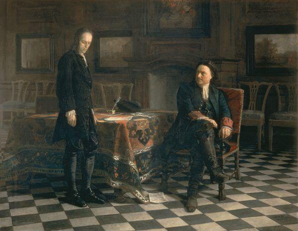 Aleksy nie mógł liczyć na ojcowską litość ani łaskę. Obraz pędzla Nikołaja Gaya z 1871 roku przedstawiający Piotra Wielkiego przesłuchującego syna. W tym wypadku nawet bez tortur (źródło: domena publiczna).