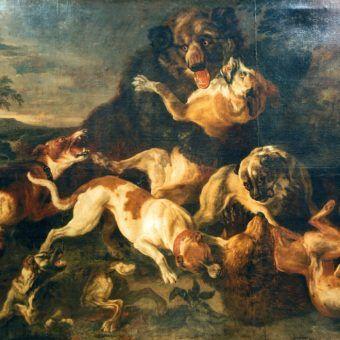 Walka psów i niedźwiedzi na obrazie Fransa Snydersa (lic. CC BY-SA 3.0).