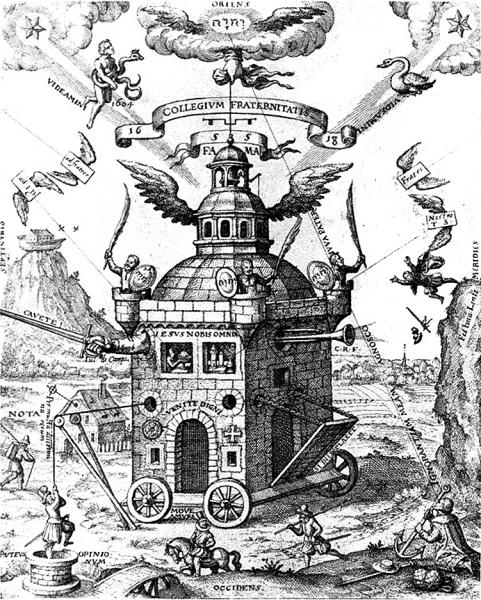 """Zagadki, tajemnice... to pasjonowało Juliusza Verne'a. A masoni czy różokrzyżowcy byli uosobieniem zagadkowości. """"Świątynia Różokrzyża"""" autorstwa Teophilusa Schweighardta Constantiensa, 1618 (domena publiczna)."""