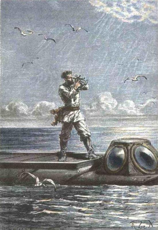 Pod wpływem swojego wydawcy Verne ukrył tożsamość kapitana Nemo, który pierwotnie miał być Polakiem (ilustracja autorstwa George'a Roux, domena publiczna).