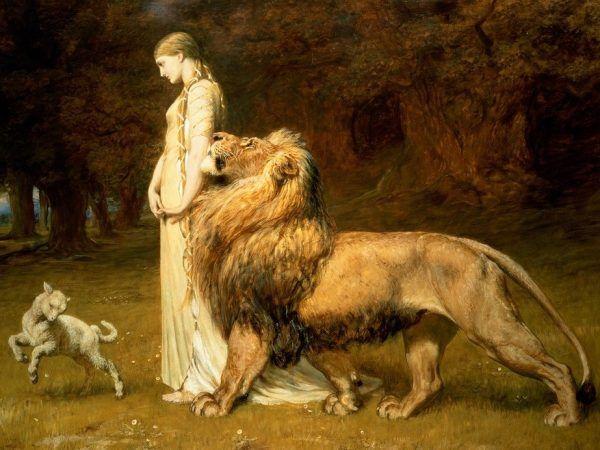 """Lew imponuje nie tylko w sztuce i mitologii, ale też na wojnie. Obraz """"Una i lew"""" Britona Rivière'a (źródło: domena publiczna)."""
