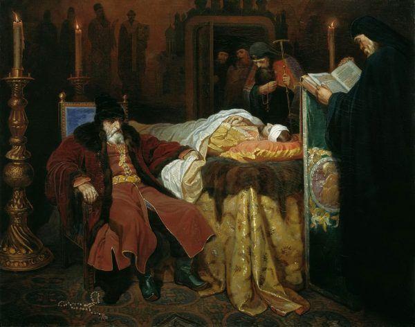 Iwan IV Groźny czuwa przy marach syna. Syna, którego własnoręcznie pozbawił życia. Obraz Wiaczesława Grigorjiewicza Schwarza z 1864 roku (źródło: domena publiczna).